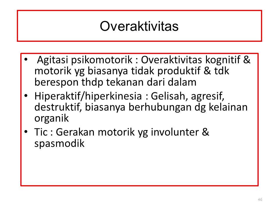 Overaktivitas Agitasi psikomotorik : Overaktivitas kognitif & motorik yg biasanya tidak produktif & tdk berespon thdp tekanan dari dalam.