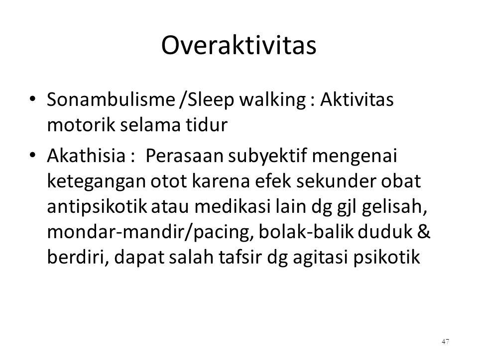 Overaktivitas Sonambulisme /Sleep walking : Aktivitas motorik selama tidur.
