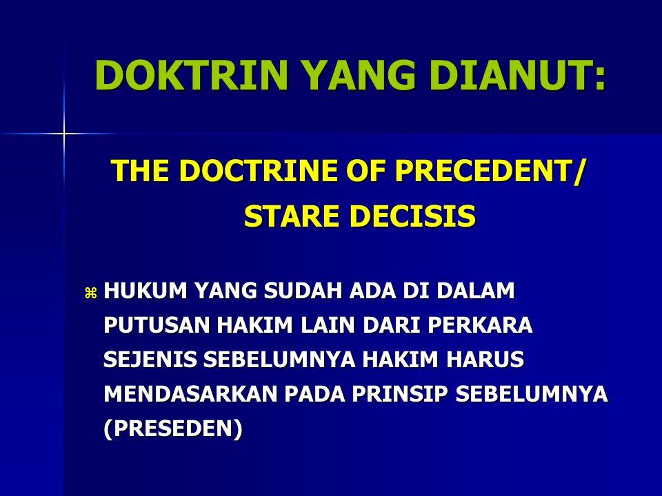 THE DOCTRINE OF PRECEDENT/ STARE DECISIS