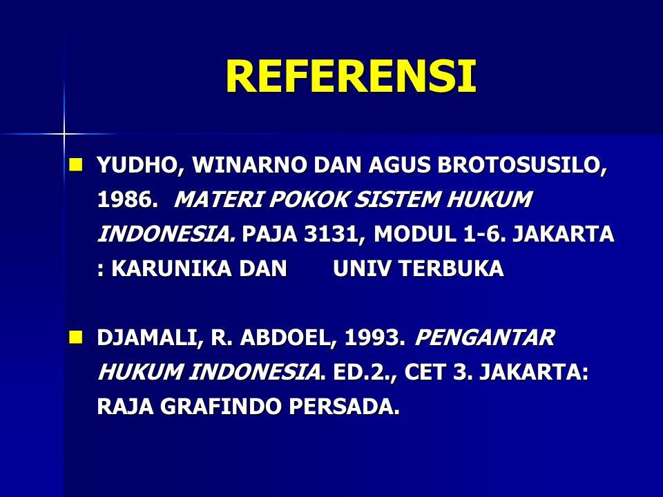 REFERENSI YUDHO, WINARNO DAN AGUS BROTOSUSILO, 1986. MATERI POKOK SISTEM HUKUM INDONESIA. PAJA 3131, MODUL 1-6. JAKARTA : KARUNIKA DAN UNIV TERBUKA.