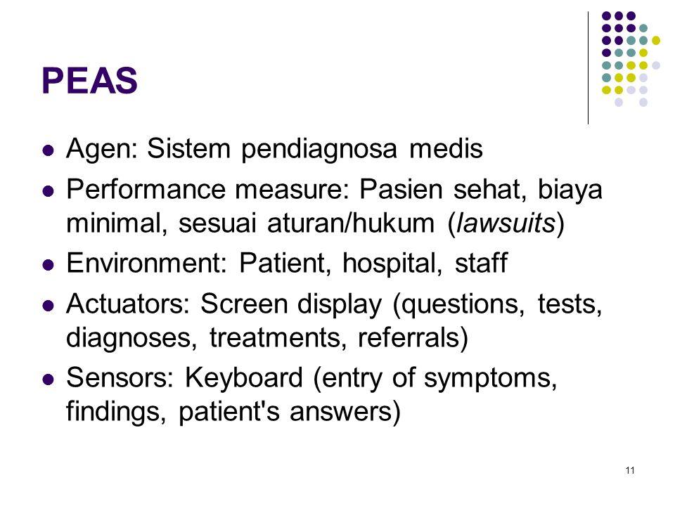 PEAS Agen: Sistem pendiagnosa medis