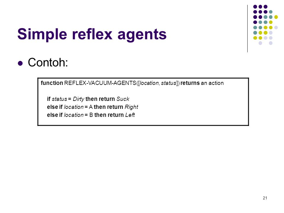 Simple reflex agents Contoh: