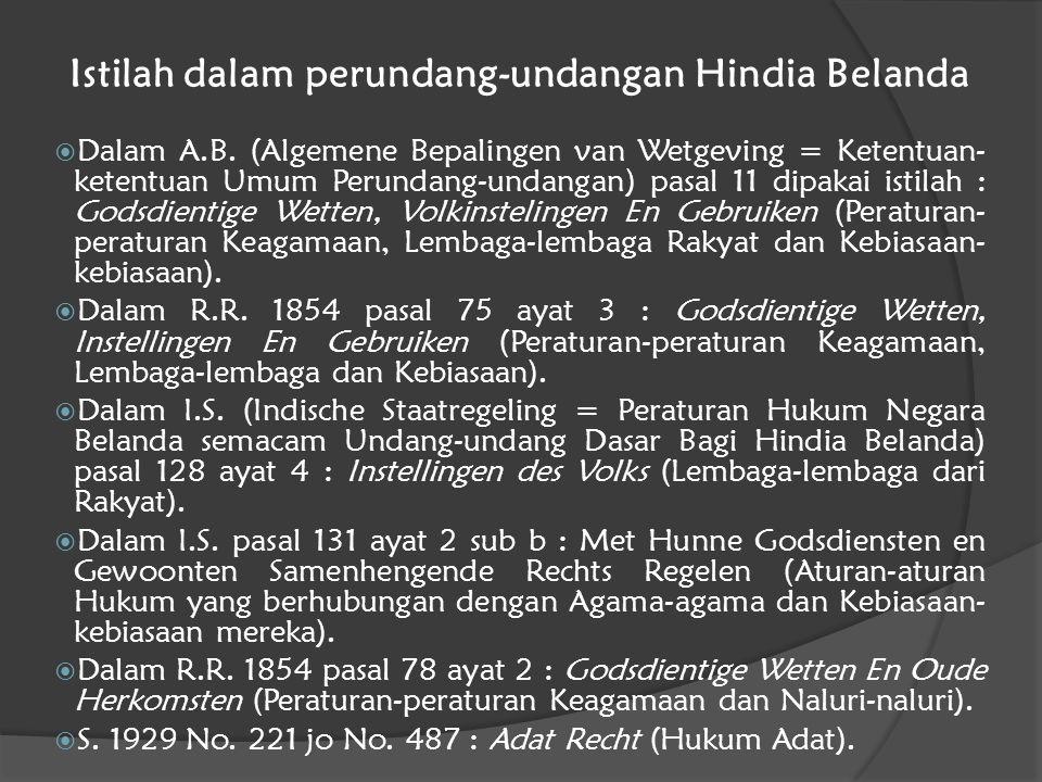 Istilah dalam perundang-undangan Hindia Belanda