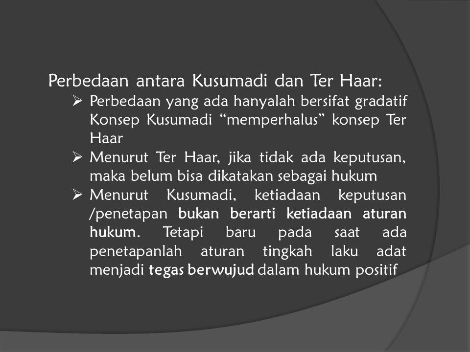 Perbedaan antara Kusumadi dan Ter Haar: