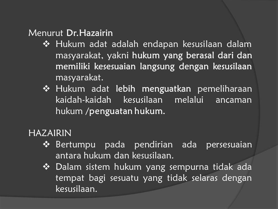 Menurut Dr.Hazairin