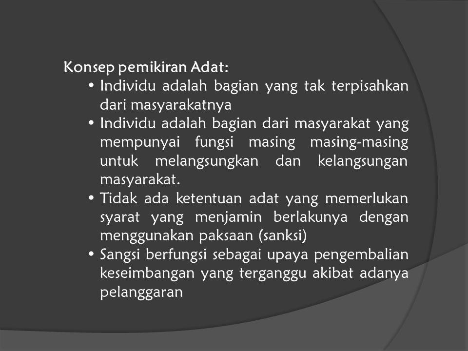 Konsep pemikiran Adat: