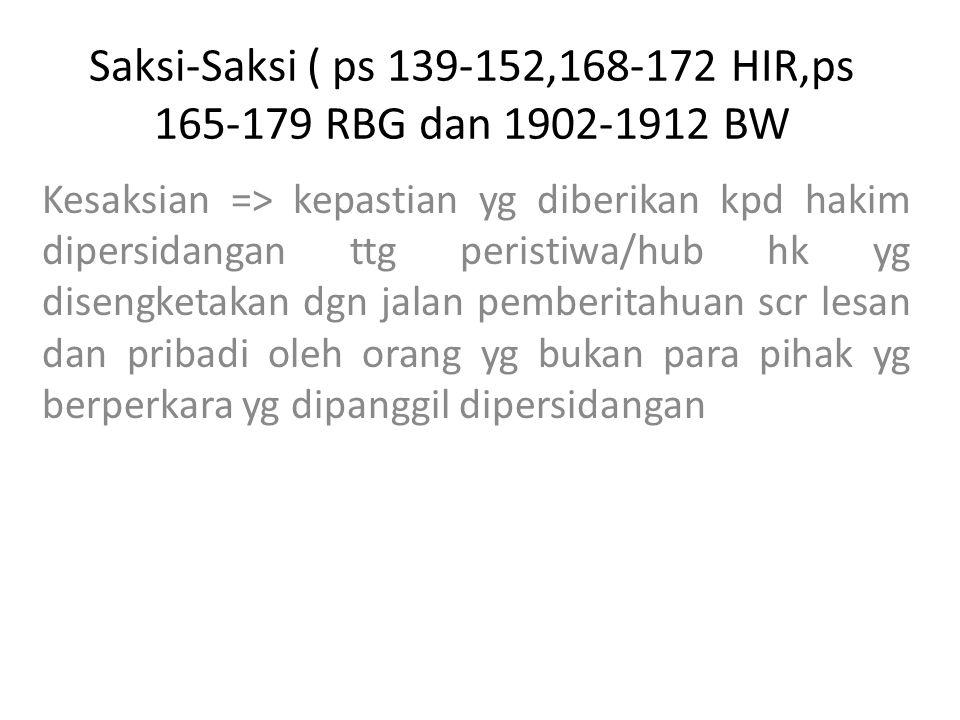 Saksi-Saksi ( ps 139-152,168-172 HIR,ps 165-179 RBG dan 1902-1912 BW