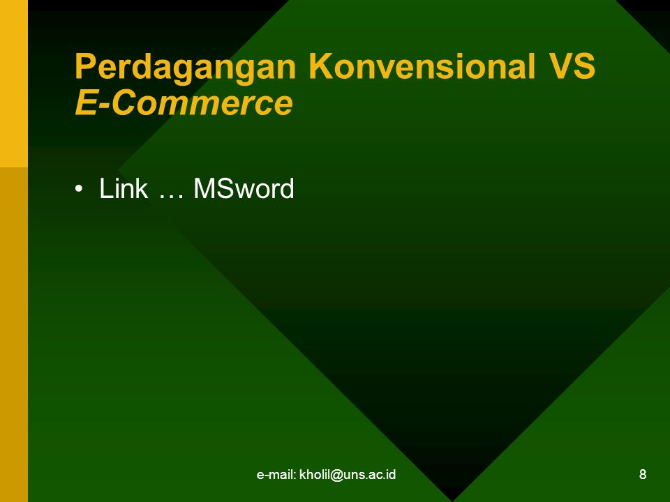 Perdagangan Konvensional VS E-Commerce