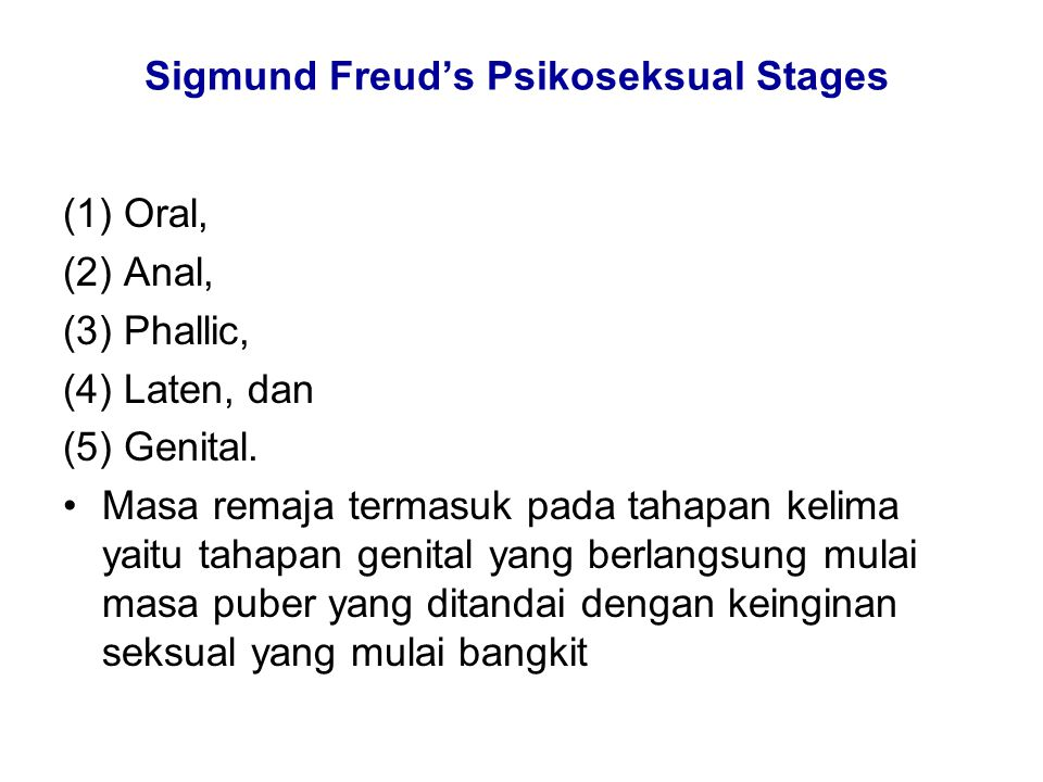 Sigmund Freud's Psikoseksual Stages