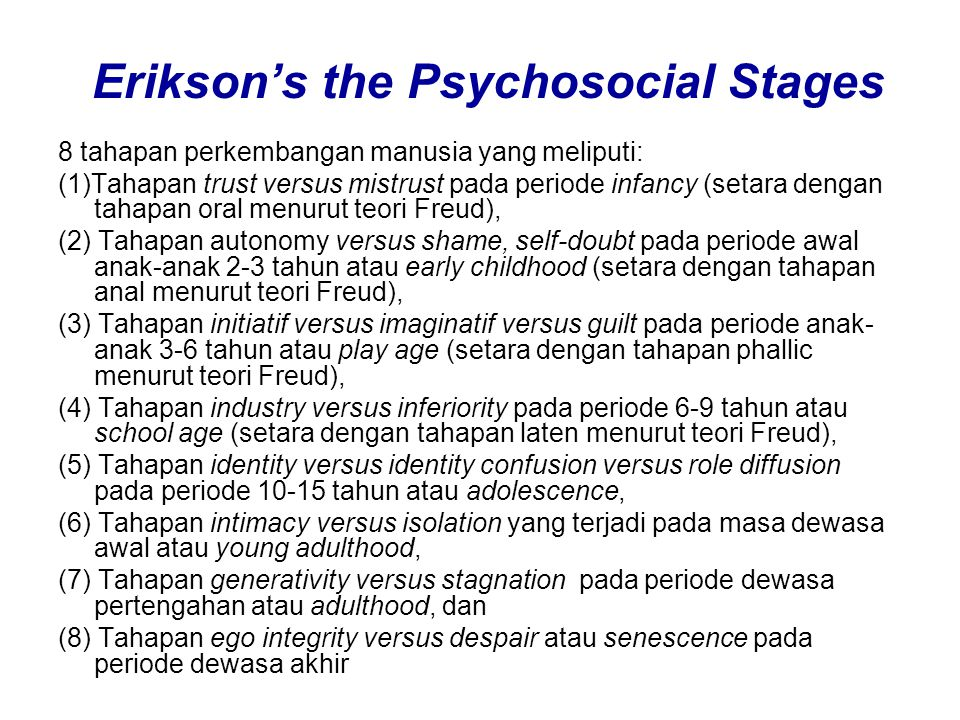 Erikson's the Psychosocial Stages