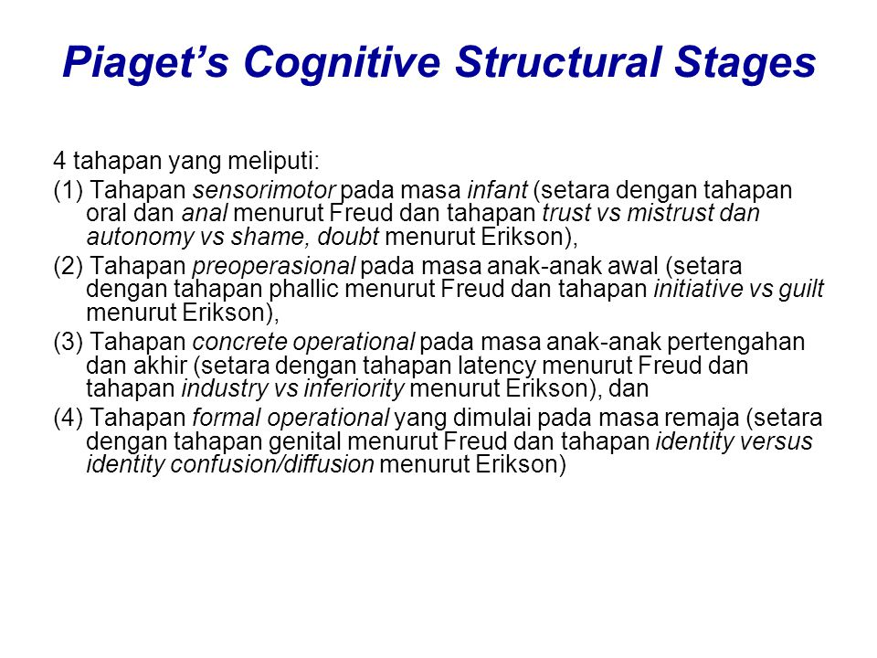 Piaget's Cognitive Structural Stages