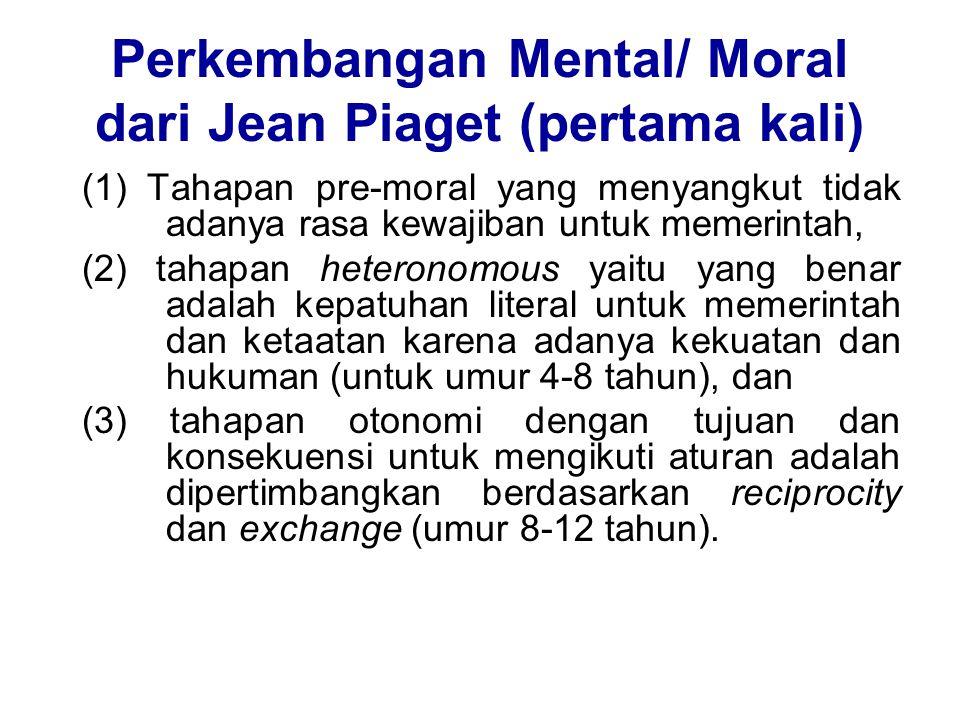 Perkembangan Mental/ Moral dari Jean Piaget (pertama kali)