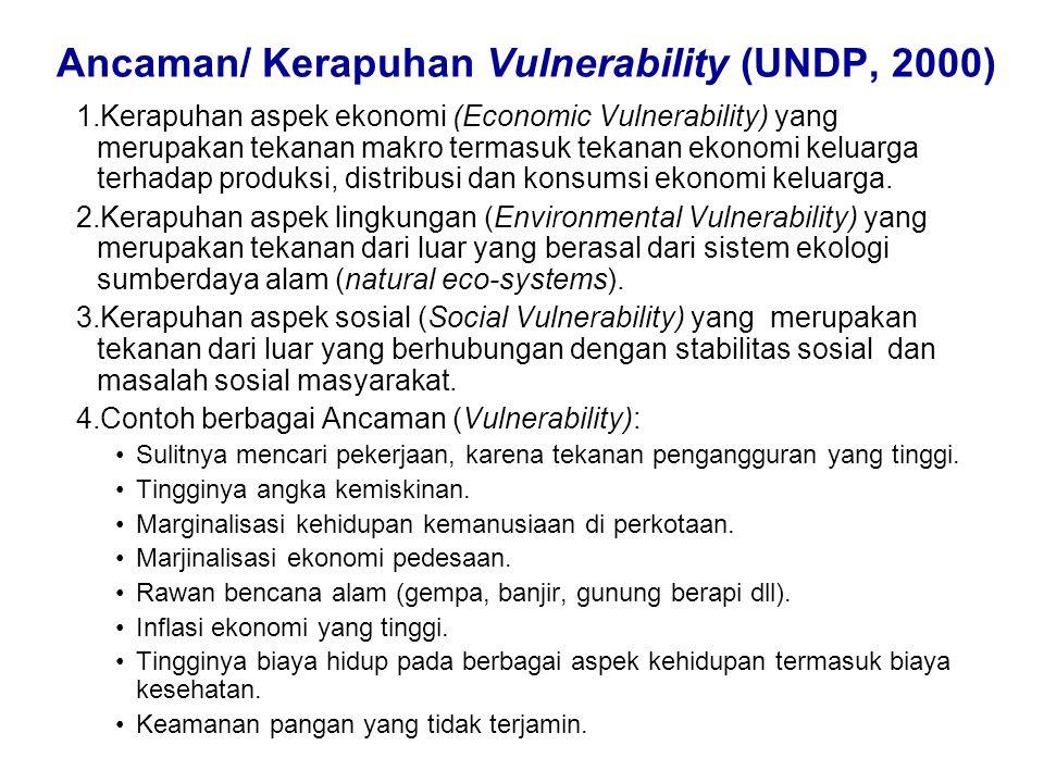 Ancaman/ Kerapuhan Vulnerability (UNDP, 2000)