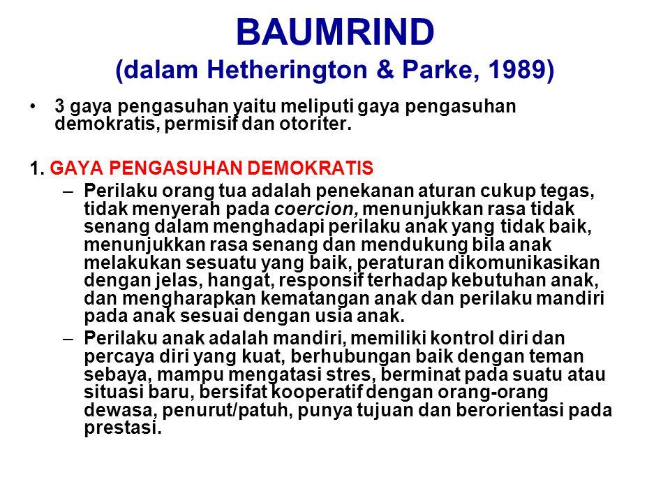 BAUMRIND (dalam Hetherington & Parke, 1989)