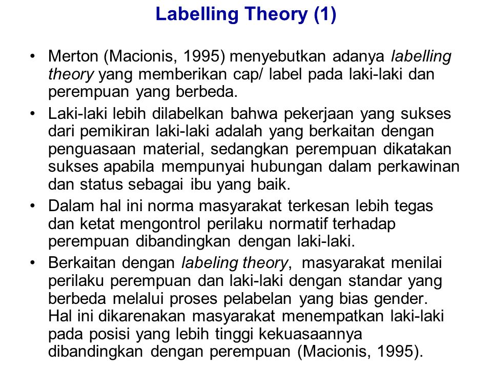 Labelling Theory (1)