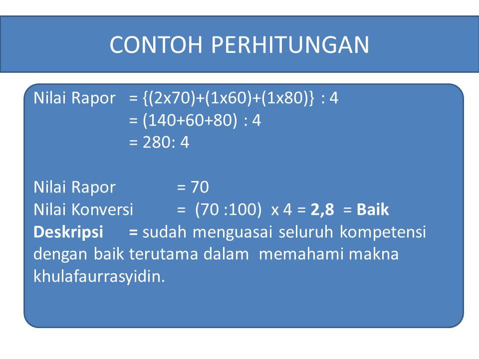 CONTOH PERHITUNGAN Nilai Rapor = {(2x70)+(1x60)+(1x80)} : 4
