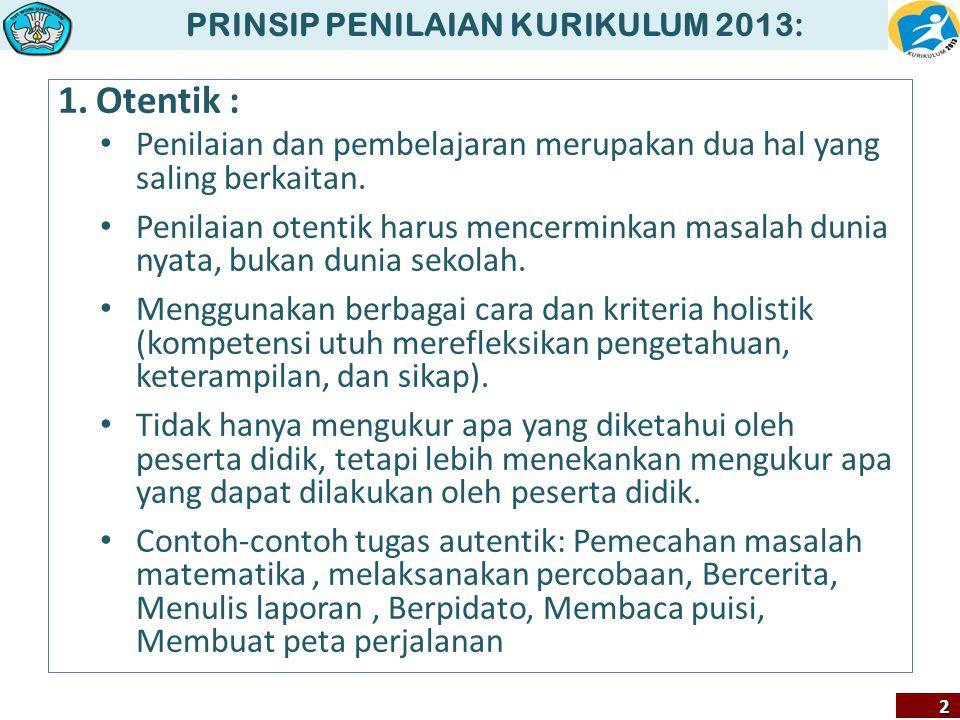 PRINSIP PENILAIAN KURIKULUM 2013: