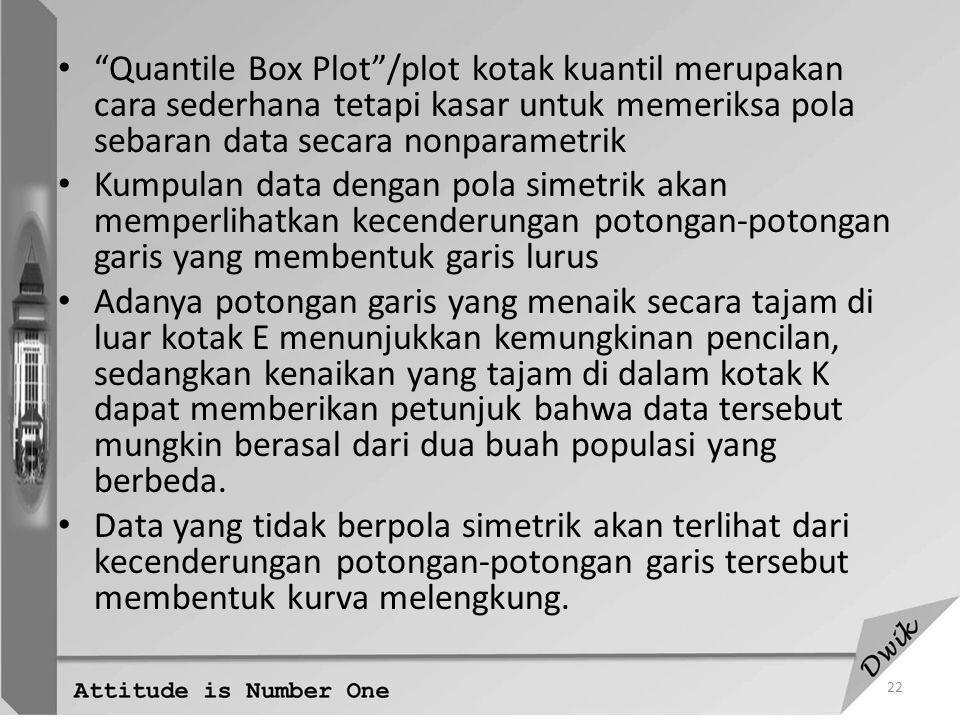 Quantile Box Plot /plot kotak kuantil merupakan cara sederhana tetapi kasar untuk memeriksa pola sebaran data secara nonparametrik