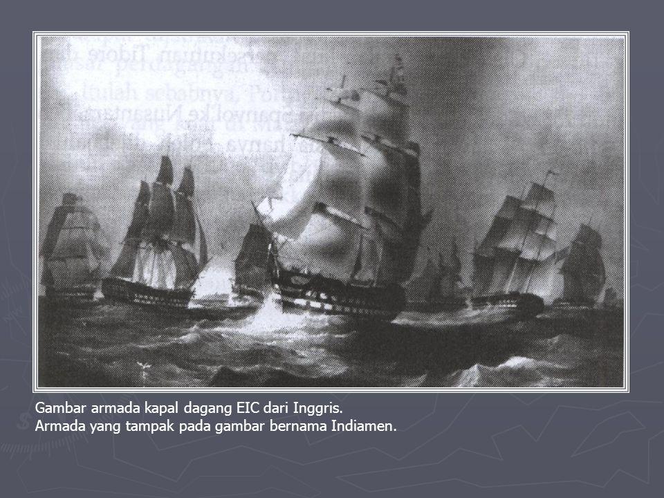 Gambar armada kapal dagang EIC dari Inggris.