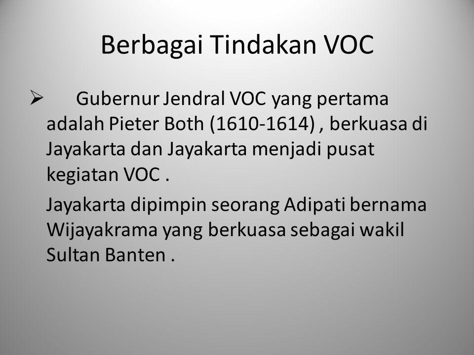 Berbagai Tindakan VOC