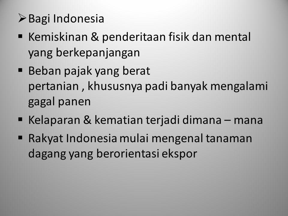 Bagi Indonesia Kemiskinan & penderitaan fisik dan mental yang berkepanjangan.