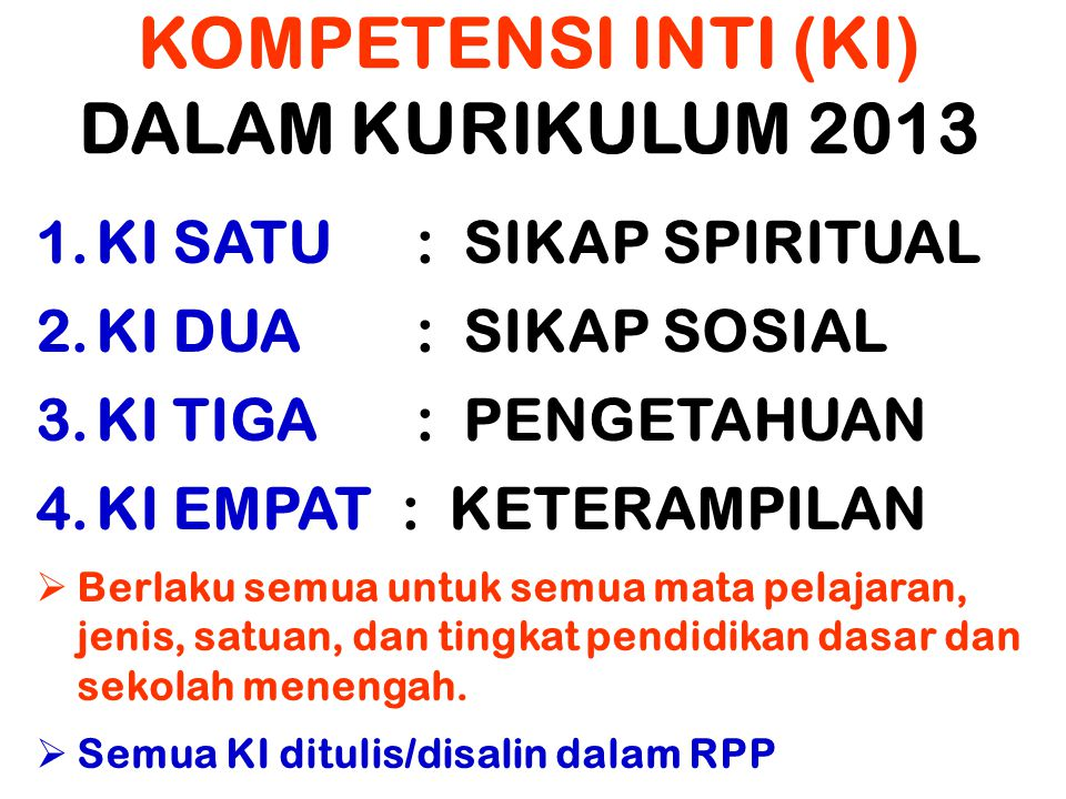 KOMPETENSI INTI (KI) DALAM KURIKULUM 2013