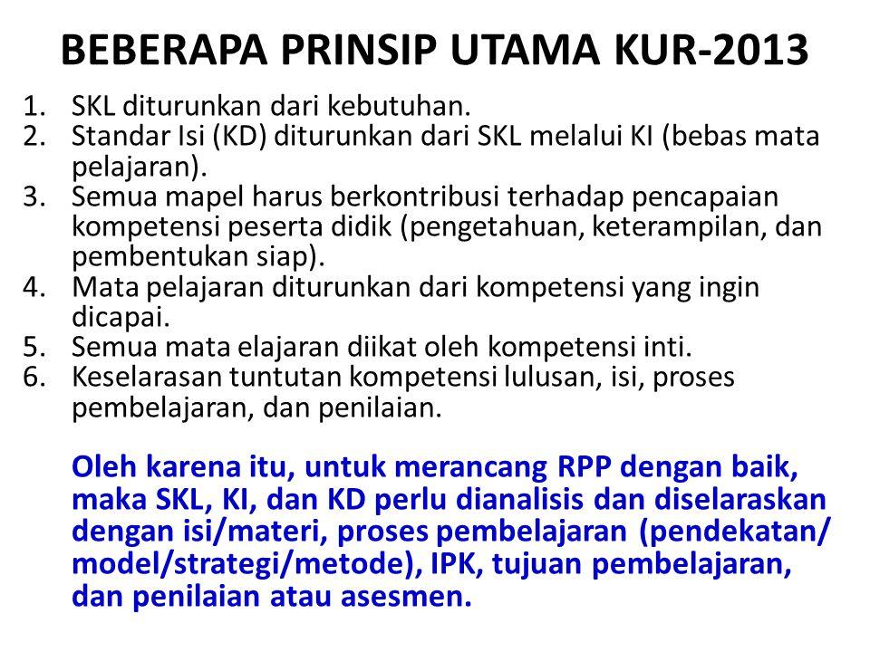 BEBERAPA PRINSIP UTAMA KUR-2013