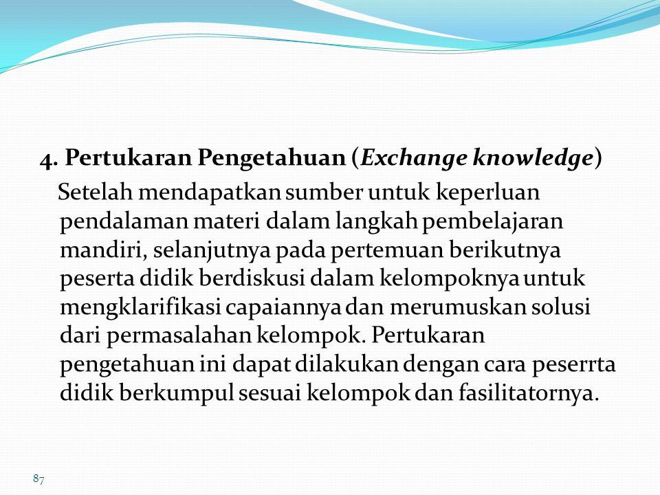 4. Pertukaran Pengetahuan (Exchange knowledge)