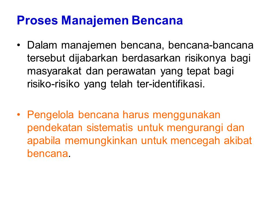 Proses Manajemen Bencana