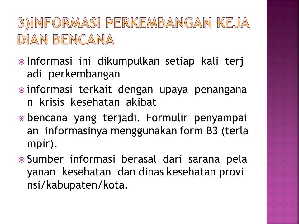 3)Informasi perkembangan kejadian bencana
