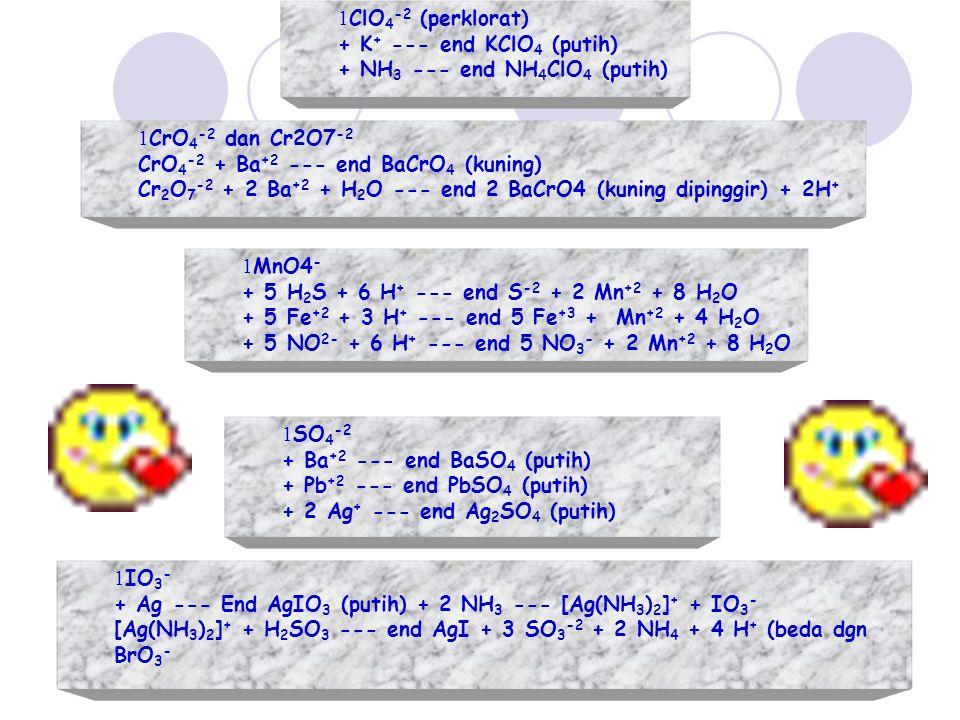 ClO4-2 (perklorat) + K+ --- end KClO4 (putih) + NH3 --- end NH4ClO4 (putih) CrO4-2 dan Cr2O7-2. CrO4-2 + Ba+2 --- end BaCrO4 (kuning)