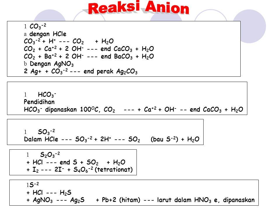 Reaksi Anion CO3-2 dengan HCle CO3-2 + H+ --- CO2 + H2O
