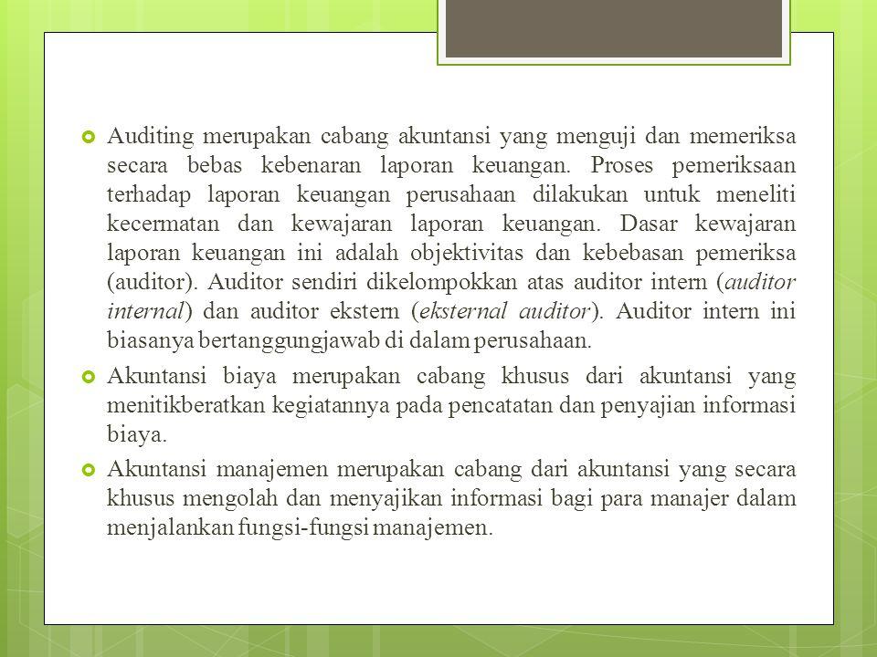 Auditing merupakan cabang akuntansi yang menguji dan memeriksa secara bebas kebenaran laporan keuangan. Proses pemeriksaan terhadap laporan keuangan perusahaan dilakukan untuk meneliti kecermatan dan kewajaran laporan keuangan. Dasar kewajaran laporan keuangan ini adalah objektivitas dan kebebasan pemeriksa (auditor). Auditor sendiri dikelompokkan atas auditor intern (auditor internal) dan auditor ekstern (eksternal auditor). Auditor intern ini biasanya bertanggungjawab di dalam perusahaan.