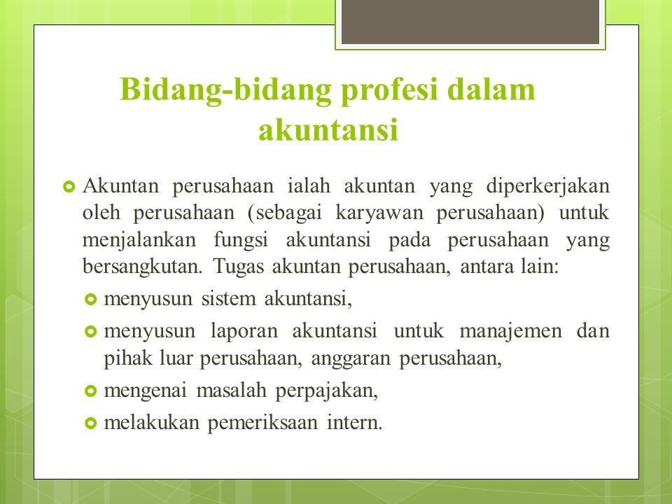 Bidang-bidang profesi dalam akuntansi
