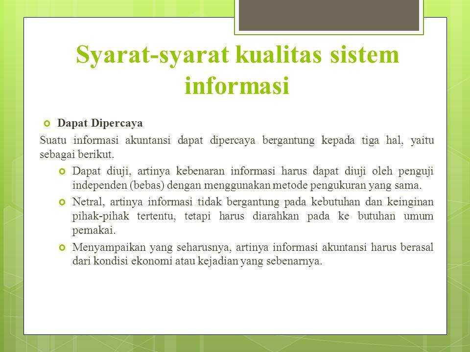 Syarat-syarat kualitas sistem informasi