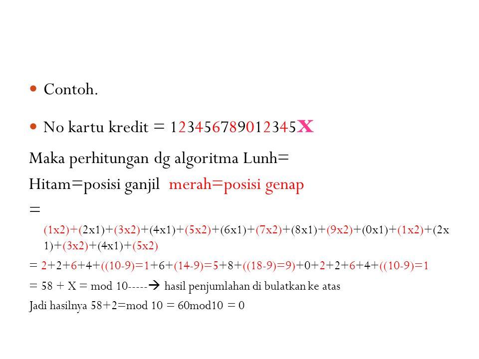 Maka perhitungan dg algoritma Lunh=
