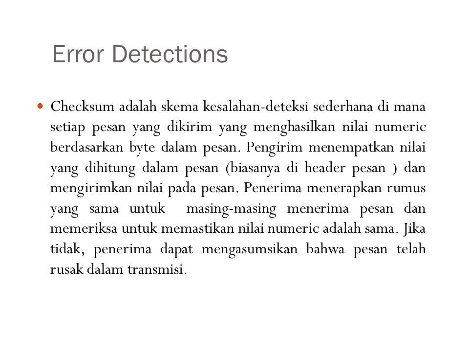 Error Detections