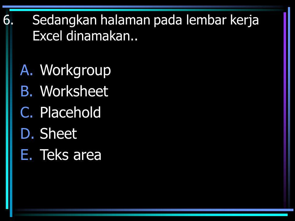 Workgroup Worksheet Placehold Sheet Teks area