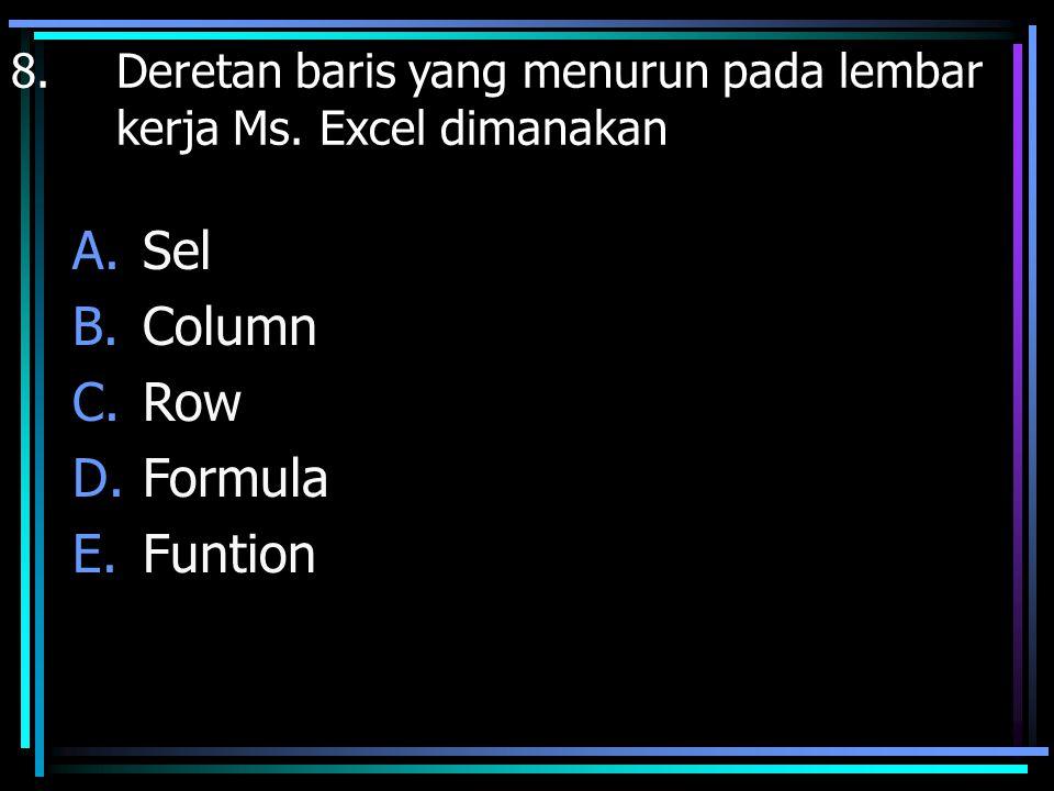Sel Column Row Formula Funtion