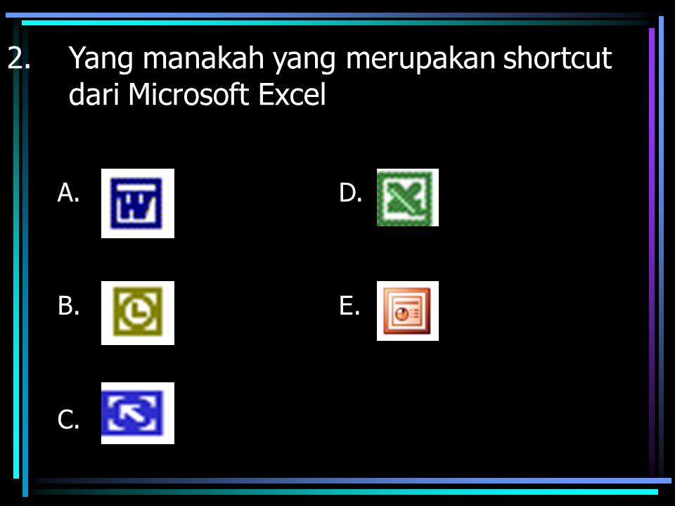 Yang manakah yang merupakan shortcut dari Microsoft Excel