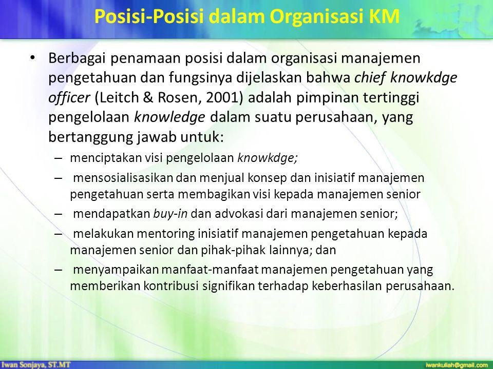 Posisi-Posisi dalam Organisasi KM