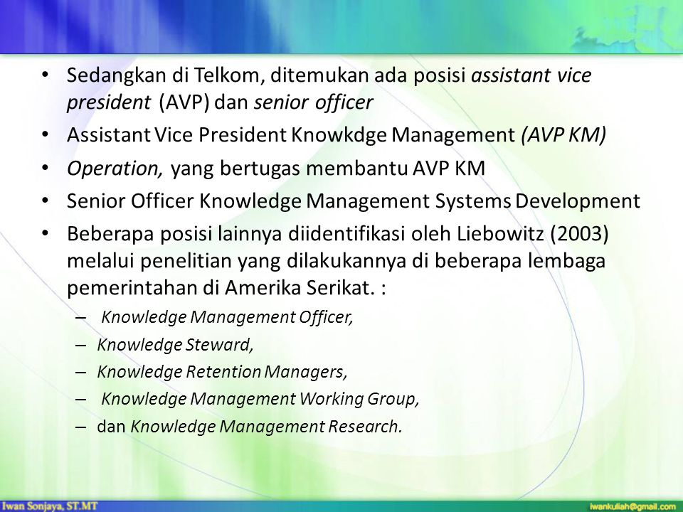 Assistant Vice President Knowkdge Management (AVP KM)