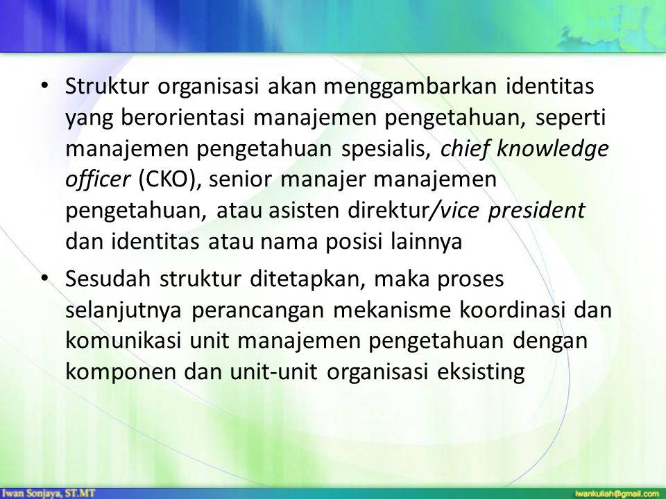 Struktur organisasi akan menggambarkan identitas yang berorientasi manajemen pengetahuan, seperti manajemen pengetahuan spesialis, chief knowledge officer (CKO), senior manajer manajemen pengetahuan, atau asisten direktur/vice president dan identitas atau nama posisi lainnya