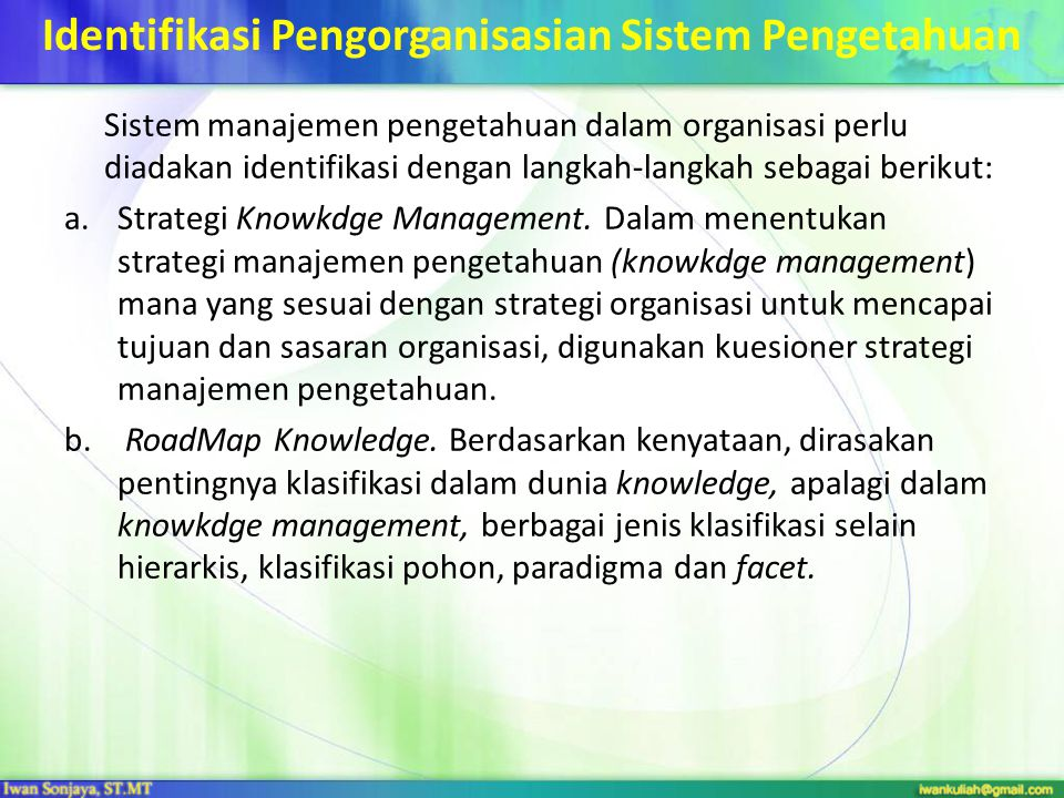 Identifikasi Pengorganisasian Sistem Pengetahuan