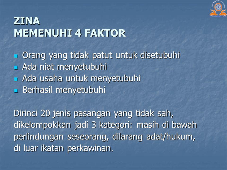 ZINA MEMENUHI 4 FAKTOR Orang yang tidak patut untuk disetubuhi