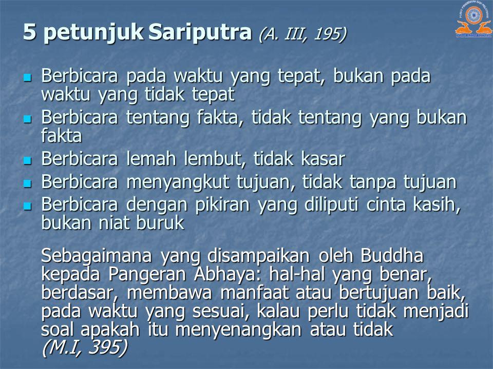 5 petunjuk Sariputra (A. III, 195)