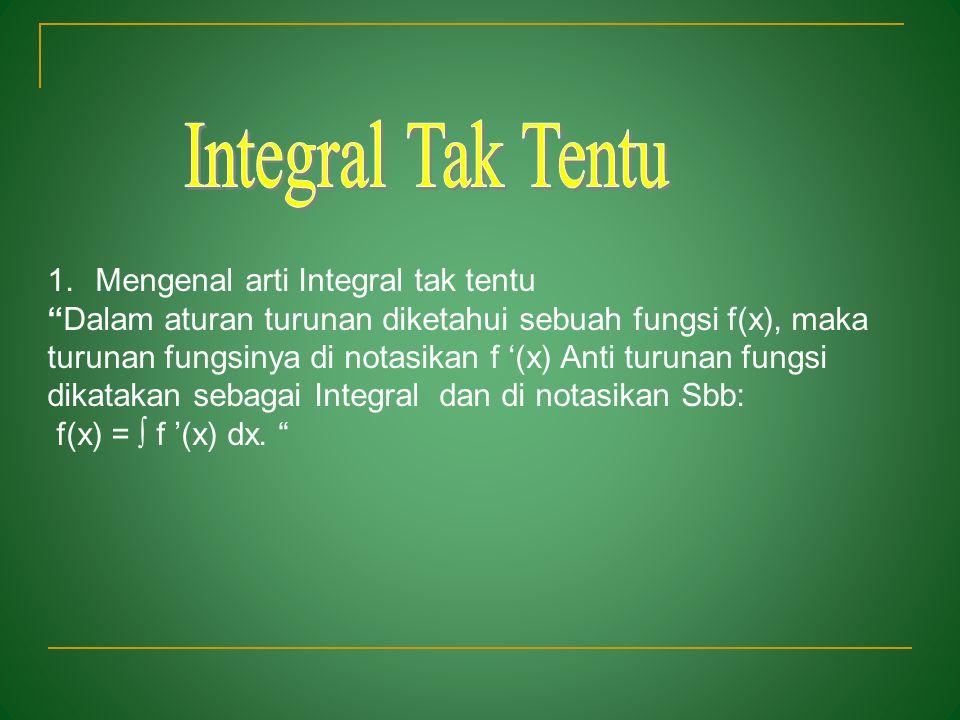Integral Tak Tentu Mengenal arti Integral tak tentu