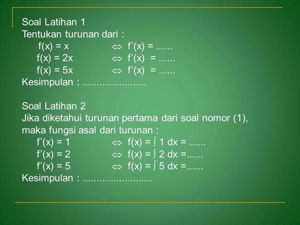 Soal Latihan 1 Tentukan turunan dari : f(x) = x  f'(x) = ...... f(x) = 2x  f'(x) = ......