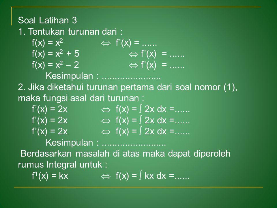 Soal Latihan 3 1. Tentukan turunan dari : f(x) = x2  f'(x) = ...... f(x) = x2 + 5  f'(x) = ......