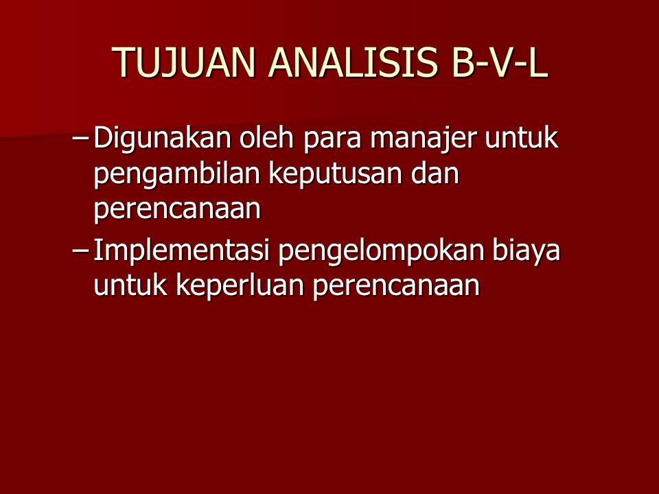 TUJUAN ANALISIS B-V-L Digunakan oleh para manajer untuk pengambilan keputusan dan perencanaan.